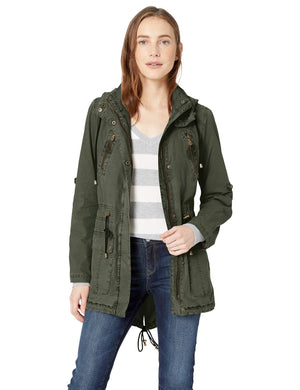 Levi's Women's Lightweight Cotton Hooded Anorak Jacket, Army Green, Large