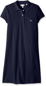 Lacoste Girls Little Classic Pique Dress with Pocket