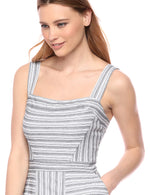 Women's Asymmetrical Stripe Flared Dress