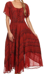 Mila Long Corset Embroidered Cap Sleeve Dress