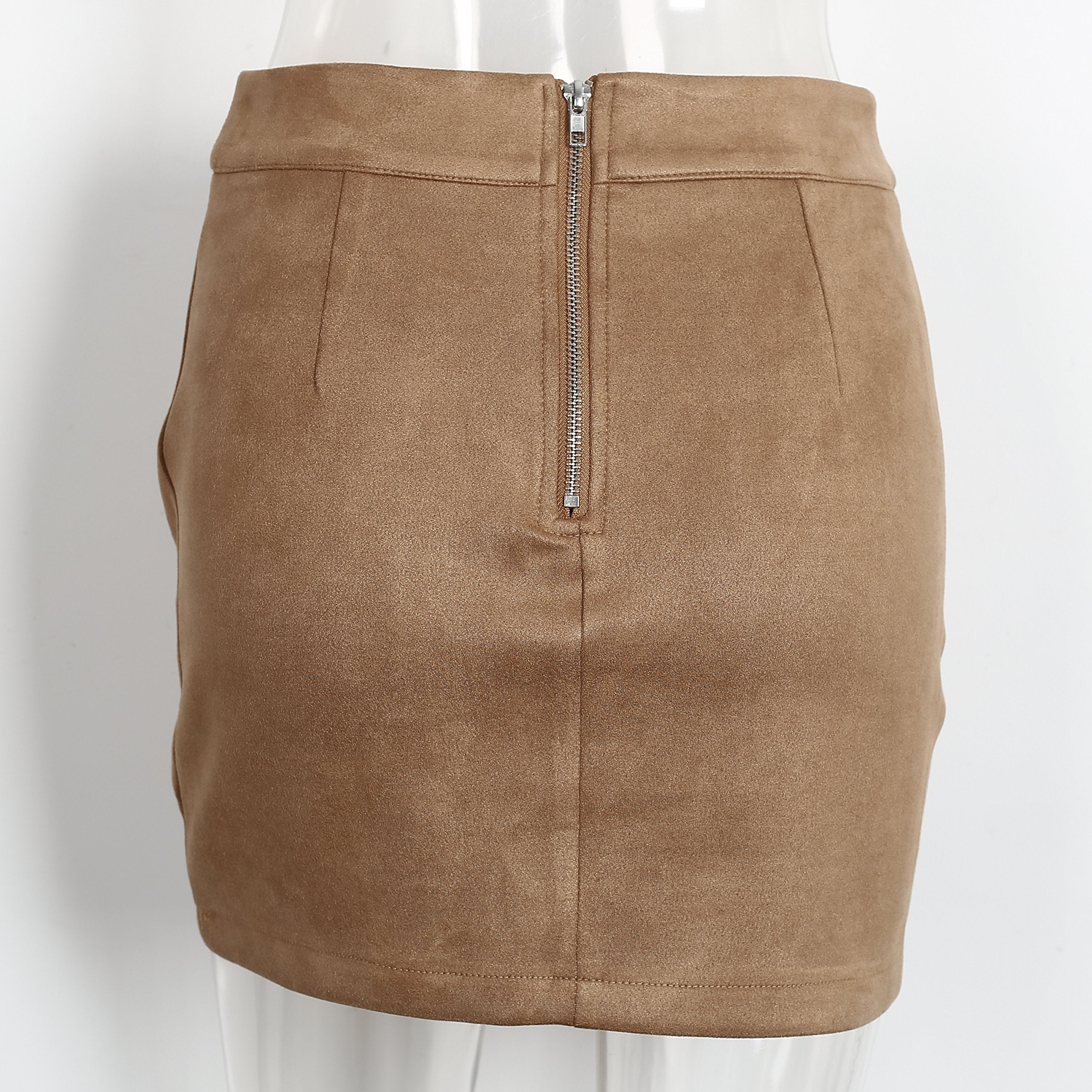 Simplee Apparel Women's High Waist Faux Suede Mini Short Bodycon Skirt Camel,Size 4/6 (M)
