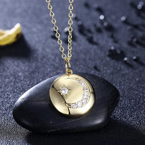 Swarovski Cresent Moon & Star Necklace in 18K Gold Plated