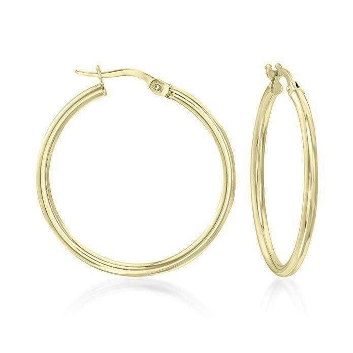 "1.5"" Classic Round Hoop Earring 18K Gold Plated"