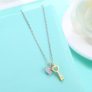 Swarovski Crystal 18K Gold over Sterling Silver Lock My Heart Necklace