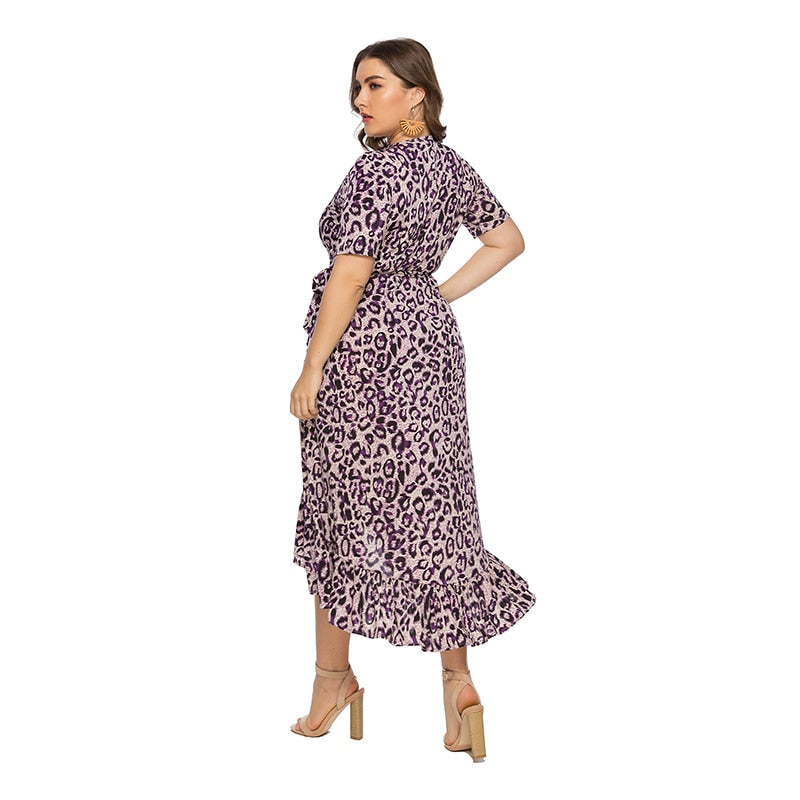 Women Plus Size Sexy Leopard Print Party Wrap Long Dress