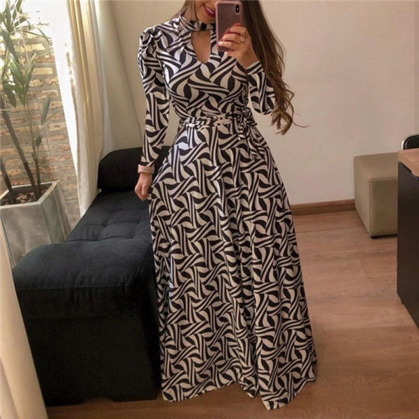 Plus Size Wrap belt big hem Dress