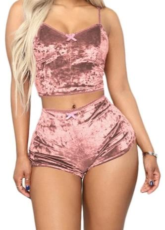 Sexy V Neck Spaghetti Straps Crop Top + Shorts