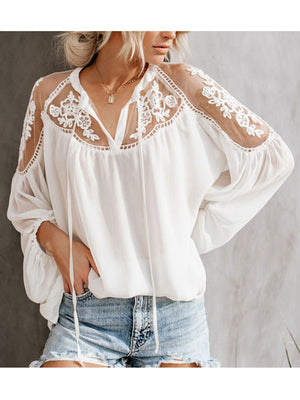 Women's V-Neck Casual Lace Mesh Blouse