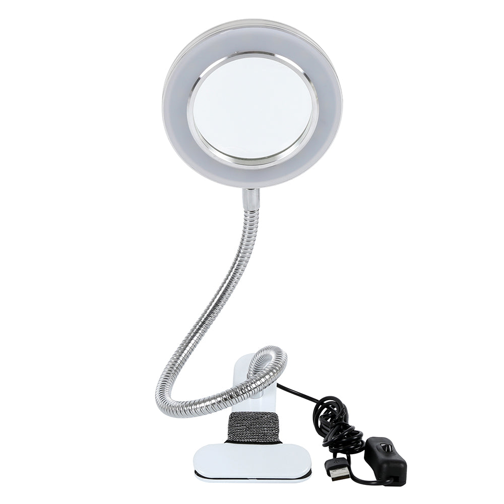 8X Makeup Tattoo Magnifying Goose neck Lamp USB Cold Light Led Non Slip