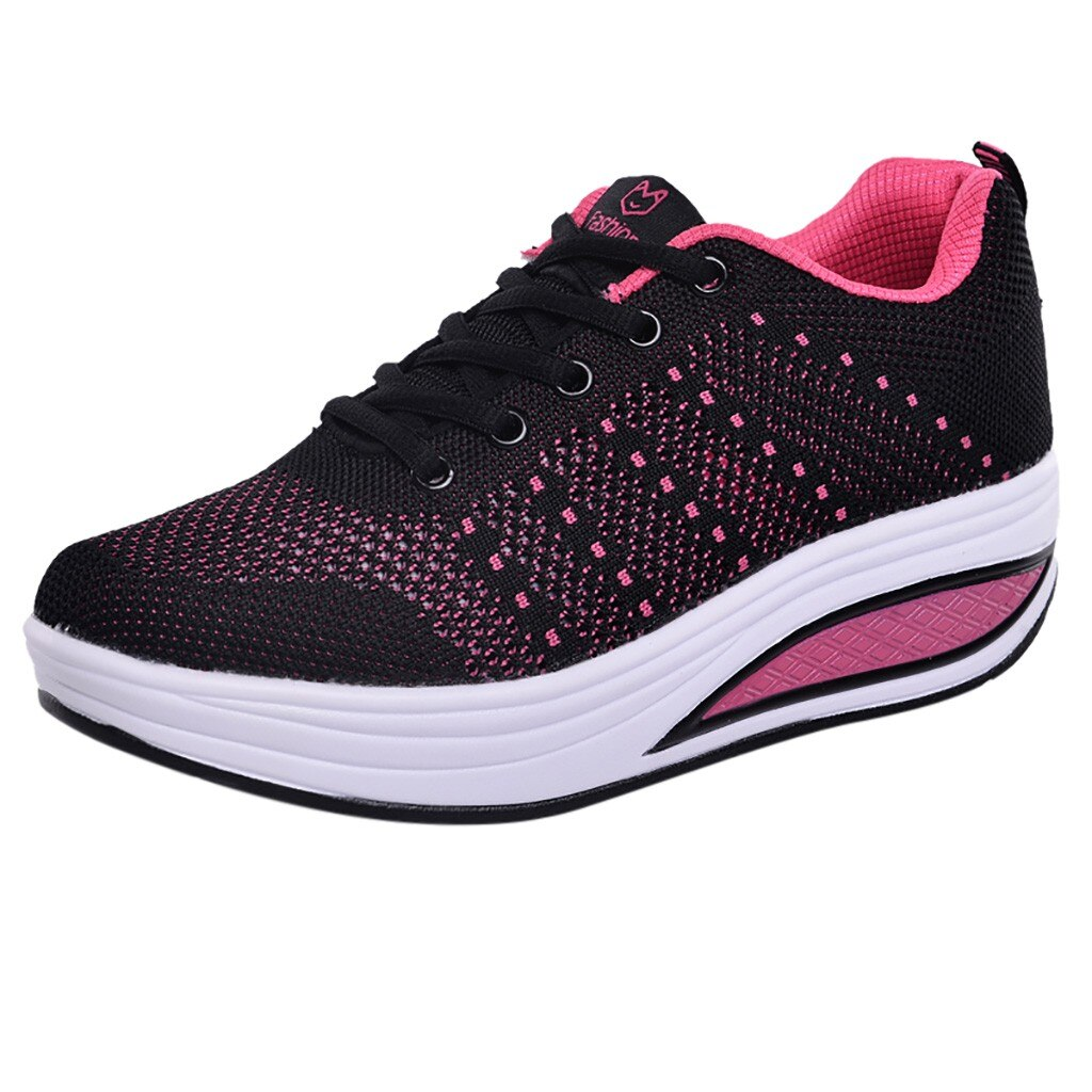 Women Mesh Pink Heightening Shoes Non-slip Air Cushion Soft Bottom
