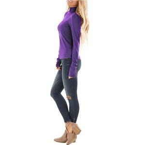 Ladies Turtle Neck Casual Solid Color Long Sleeve Slim Fit