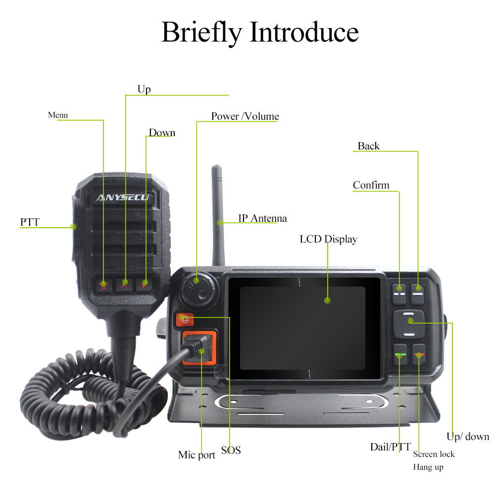 Anysecu 4G Android Network Transceiver GPS Walkie Talkie 4G-W2Plus POC mobile Radio