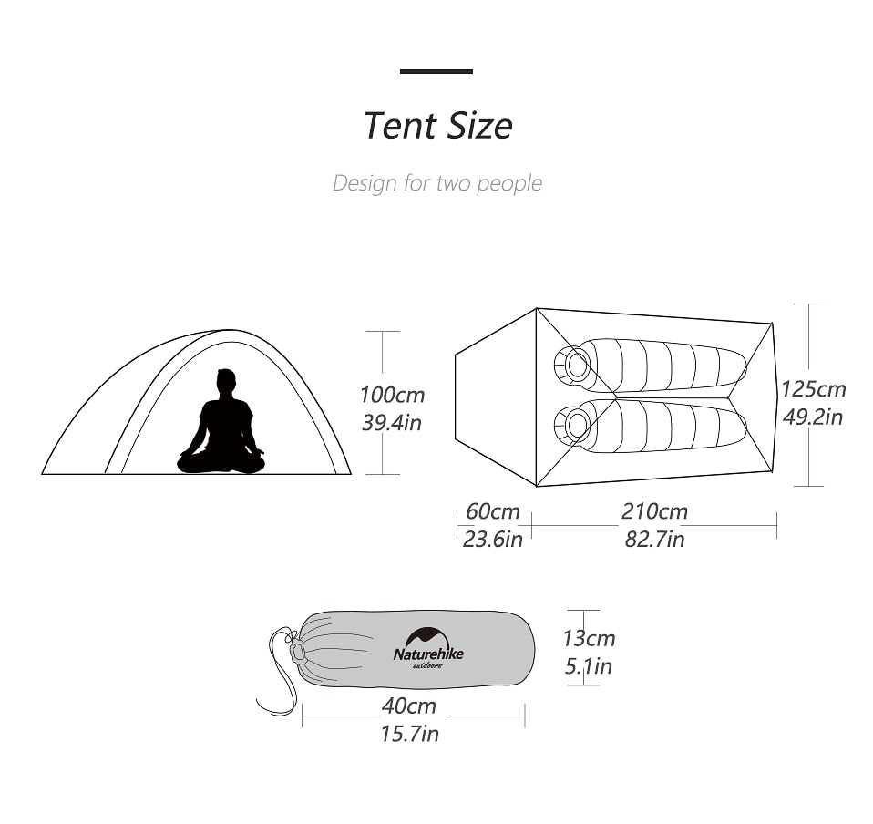 Naturehike Upgraded Free Standing 20D Fabric Camping Tents For 2 Person With free Mat