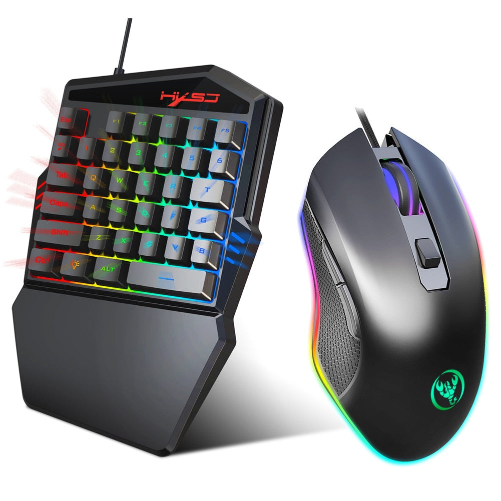 Portable One-Handed Mechanical Gaming Keyboard 6400 DPI mouse RGB Backlit Mini Gaming Keypad