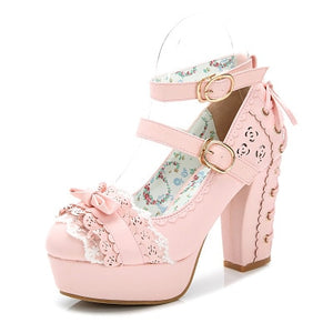 Sweet Bow Lace Candy Color Princess Shoes