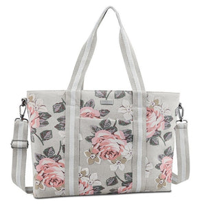 Canvas Rose Pattern Laptop Bag