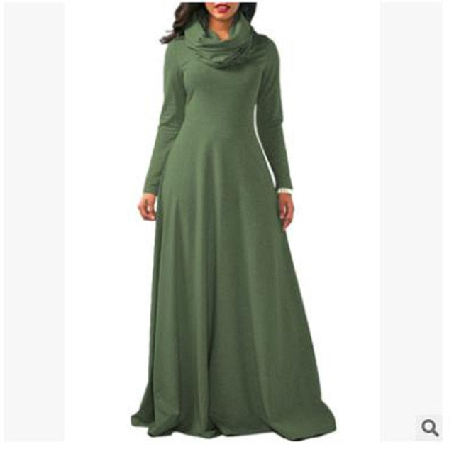 Casual Solid Vintage Maxi Turtleneck Long Sleeve Dress