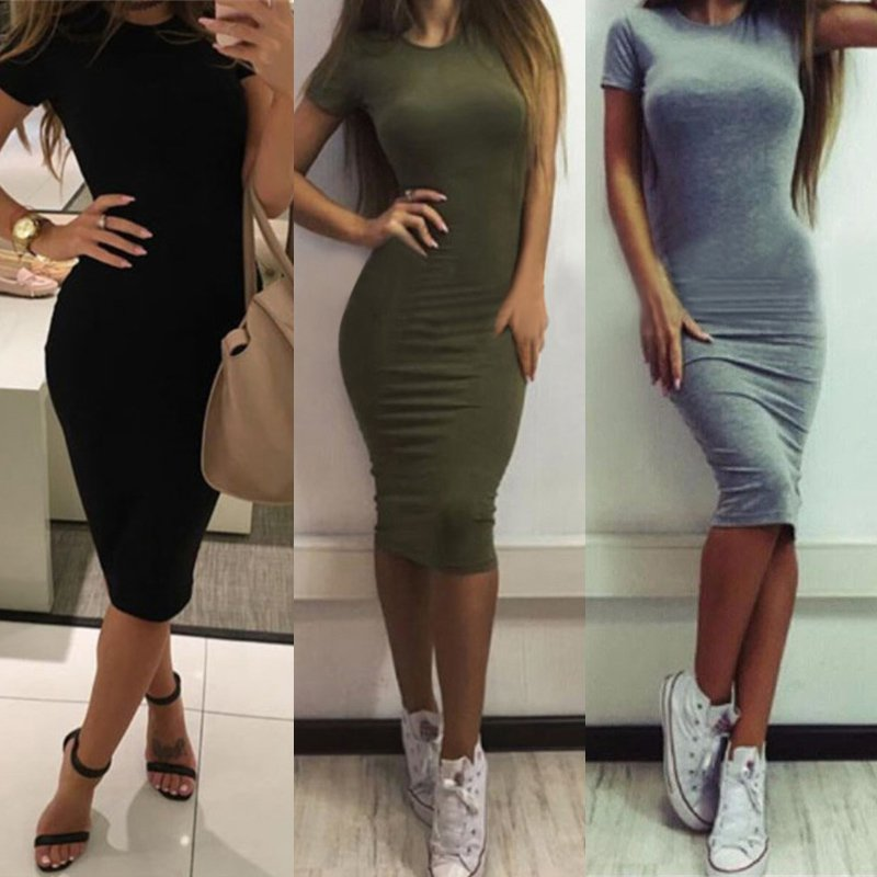 Short Sleeve Slim Bodycon Dress Tunic Crew Neck