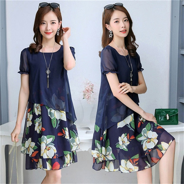 Floral Printed Plus Size Dress For Women