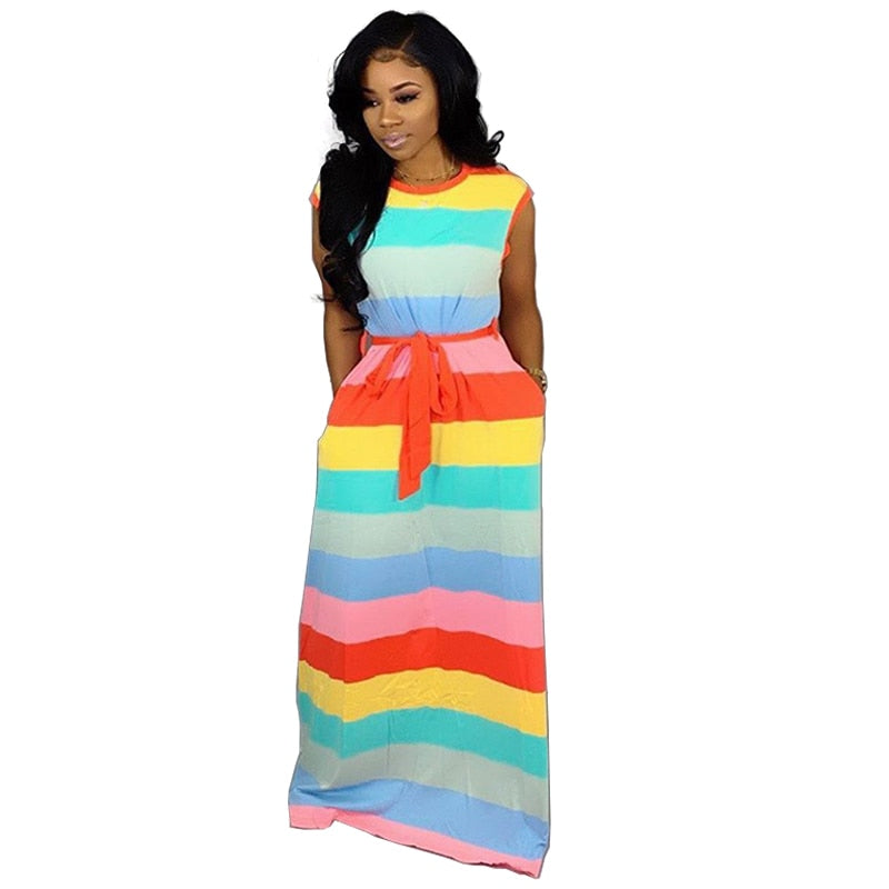 Cute Sexy Casual Rainbow Striped Dress