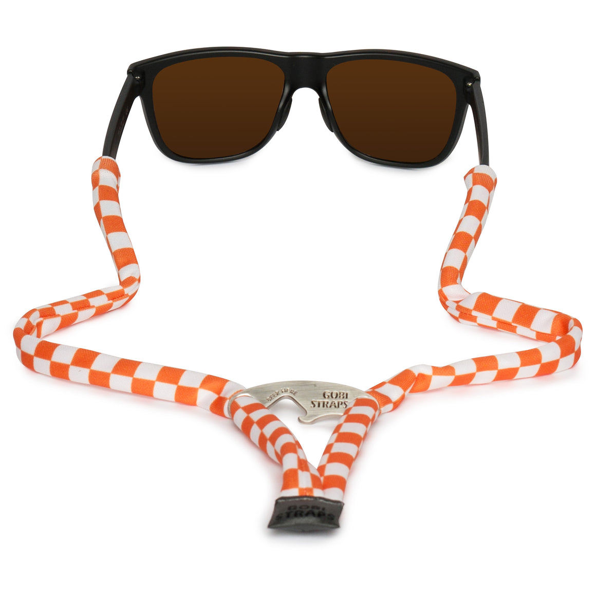 Sunglass Straps + Bottle Opener -- Orange & White