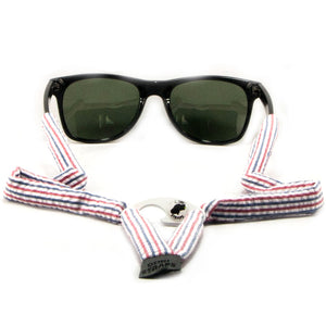 Red, White & Blue Seersucker Sunglass Straps