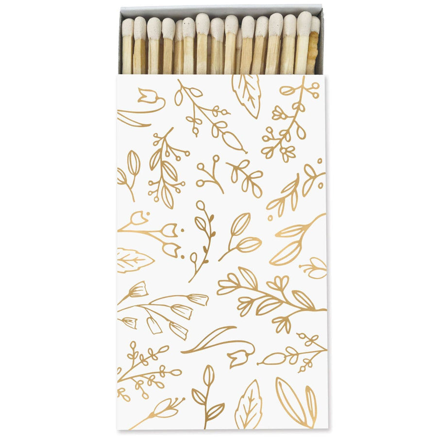 Large Match Box: White & Gold Foil Floral