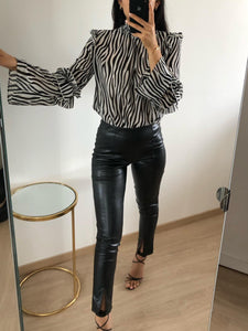 Charli - Black And White Zebra Print Blouse