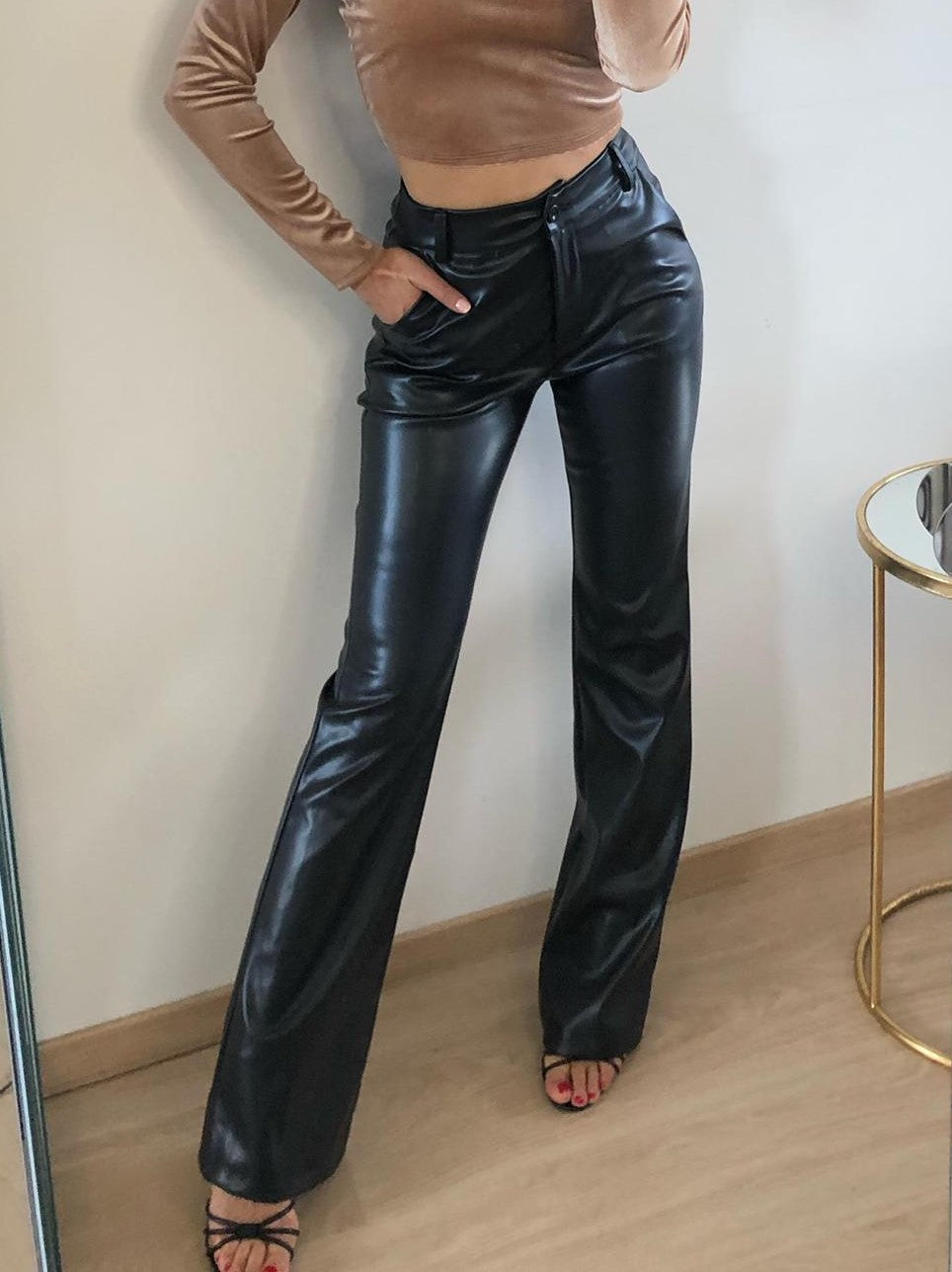 Gabriel - Black Faux Leather Flared Trousers
