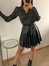 Load image into Gallery viewer, Walk Away - Black Faux Leather Pleated Skirt