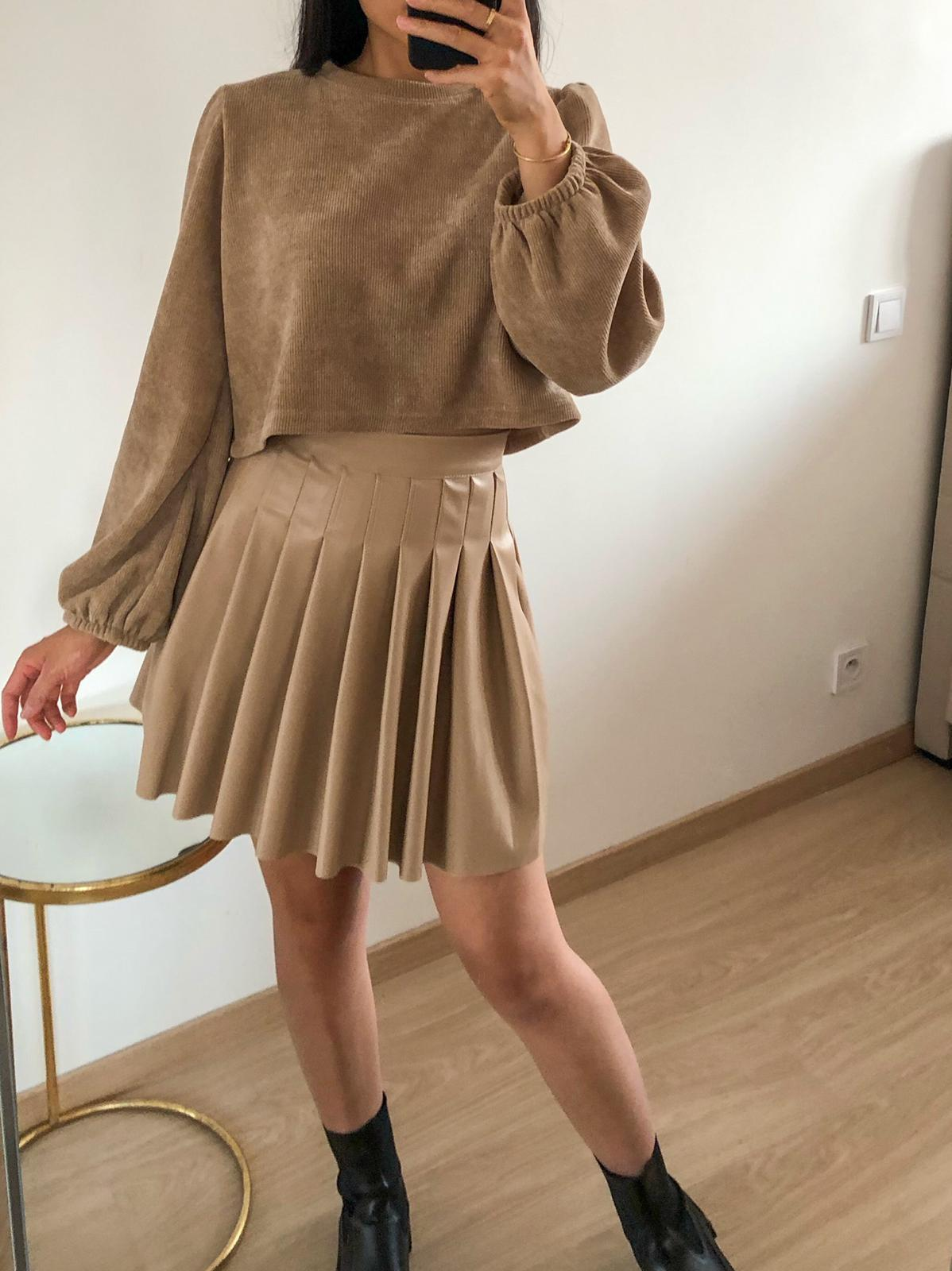 Walk Away - Beige Faux Leather Pleated Skirt