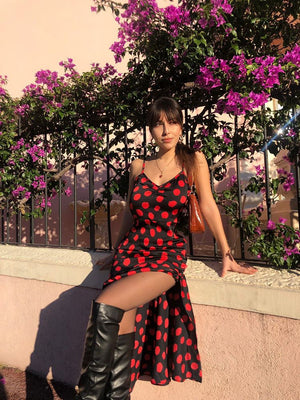 Load image into Gallery viewer, Diana - Black With Red Dot Midi Slip Dress With Frilled Bottom