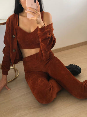 Load image into Gallery viewer, Ember - Rust Basic Corduroy Cardigan
