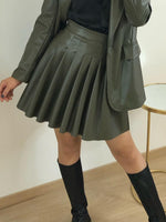 Walk Away - Green Faux Leather Pleated Skirt