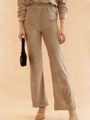 Milla - Beige Cord Relaxed Trousers With Splits