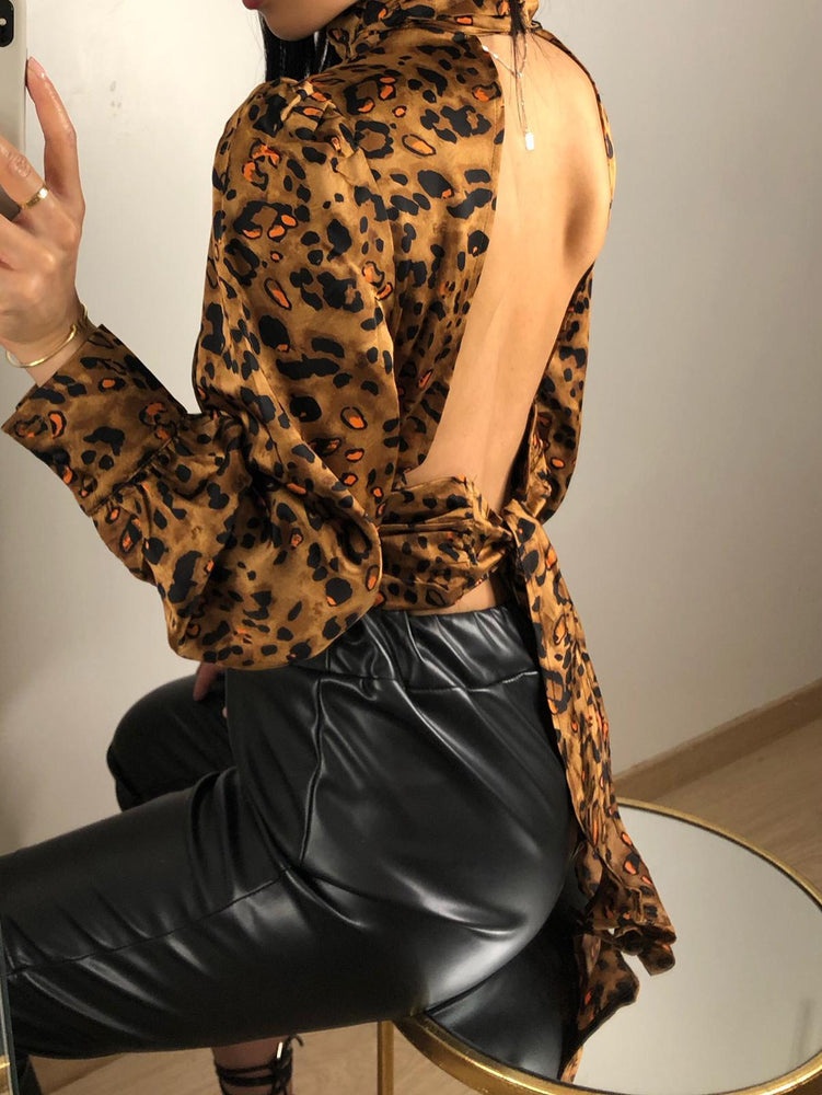 Load image into Gallery viewer, Celine - Leopard Print Open Back Top With Tie