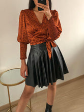 Load image into Gallery viewer, Sweet Something - Rust Polka Dot Wrap Top