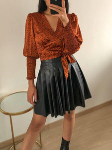 Sweet Something - Rust Polka Dot Wrap Top