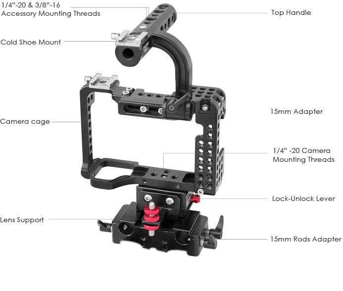 Camera Cage for Sony A7RII / A7SII / A7II