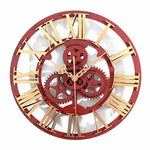 horloge murale industrielle steampunk or