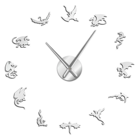 Horloge murale stickers dragons argent