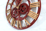 horloge murale industrielle steampunk or detail