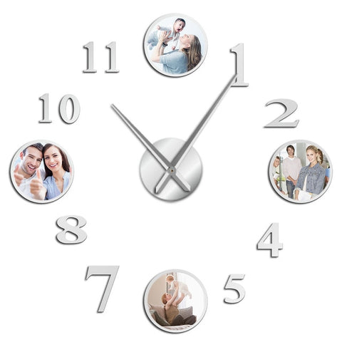 Horloge murale avec stickers photo argent