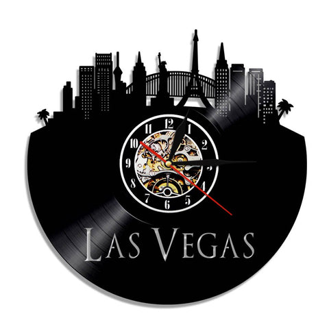 Horloge murale vinyle Las Vegas (option LED)