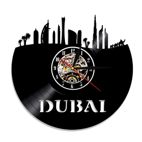 Horloge murale vinyle Dubai (option LED)