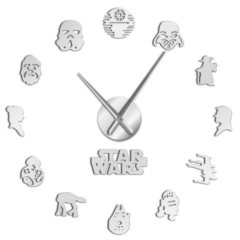 Horloge murale stickers star wars argent