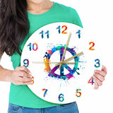 Horloge murale peace & love multicolore