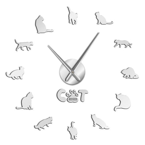 Horloge murale stickers chat argent