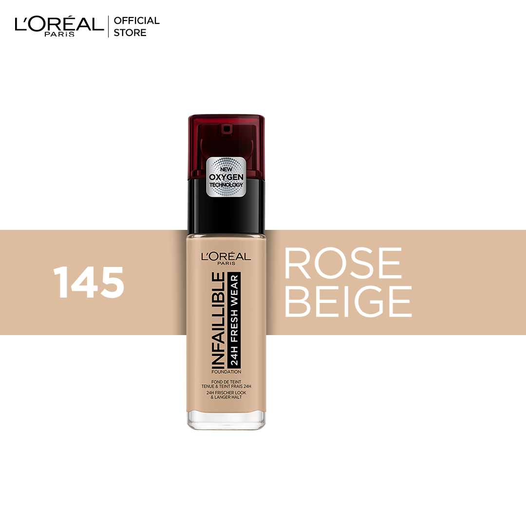 L'Oreal Paris- Infallible 24H Foundation 145 Rose Beige, 30 ml