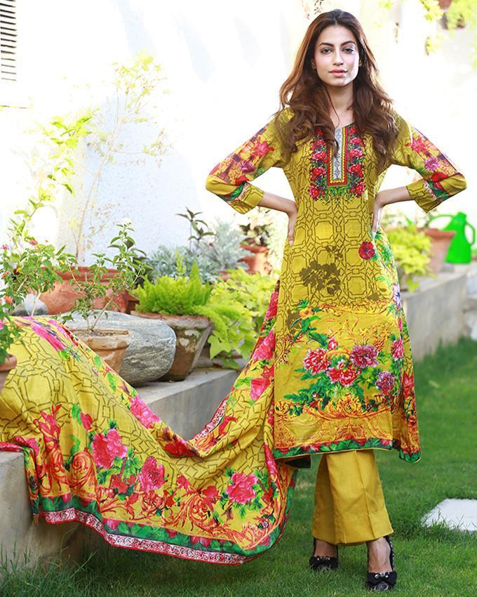 Emerce- 3Pcs Women Unstitched Printed Lawn Suit - E-1255486335 by Emerce priced at 1699 | Bagallery Deals